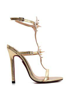 Sexy High Heel Belt Rivets Sandals - Golden 38