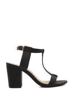 Chunky Heel T-Strap Solid Color Sandals - Black 36