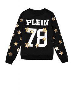 Star Letter And Number Pattern Sweatshirt - Black