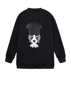 Puppy Pattern Long Sleeve Sweatshirt - Black