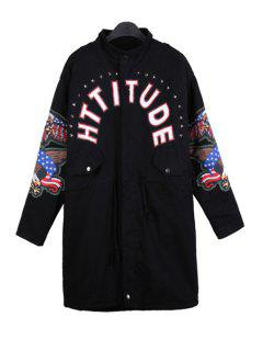 Letter Print Eagle Embroidery Coat - Black