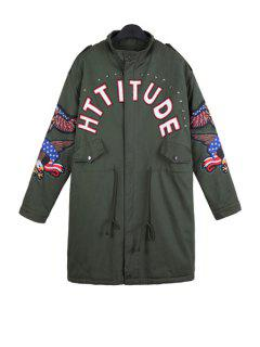 Letter Print Eagle Embroidery Coat - Army Green