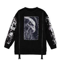 Sequins Eagle Pattern Zipper Sweatshirt - Black
