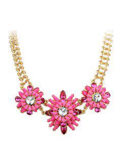 Faux Gemstone Flower Pendant Necklace - Pink