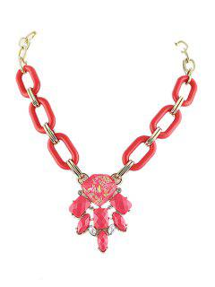 Candy Color Faux Gemstone Pendant Necklace - Red
