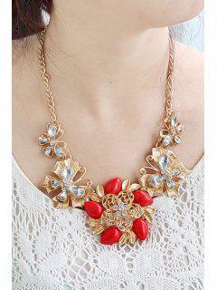 Gemstone Flower Pendant Necklace - Red