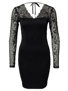 Lace Splicing Backless Bodycon Dress - Black Xl