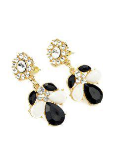 Pair Of Faux Gem And Rhinestone Earrings - Black