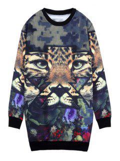 Round Collar Tiger Print Sweatshirt