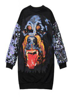 Dog Print Sequins Splicing Sweatshirt - Black