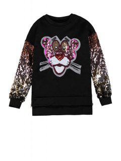 Tiger Sequins Pattern Sweatshirt - Black
