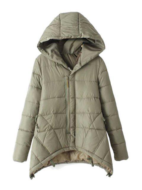 new Asymmetrical Long Sleeve Coat For Women - LIGHT GREEN L Mobile