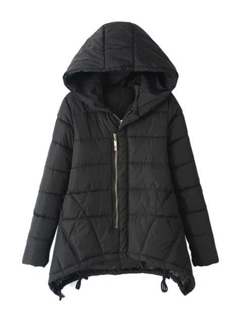 unique Asymmetrical Long Sleeve Coat For Women - BLACK 2XL Mobile