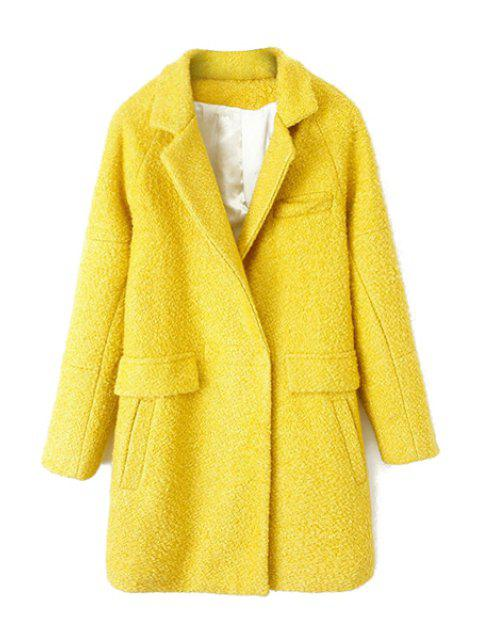 lady Solid Color Long Sleeve Coat For Women - YELLOW XL Mobile