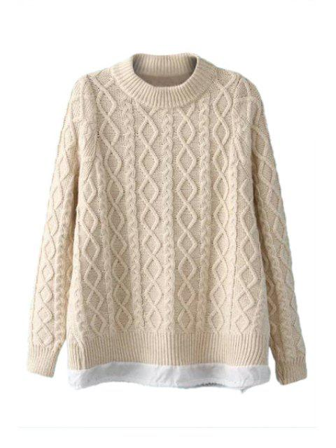affordable Argyle Long Sleeve Sweater For Women - OFF-WHITE ONE SIZE(FIT SIZE XS TO M) Mobile