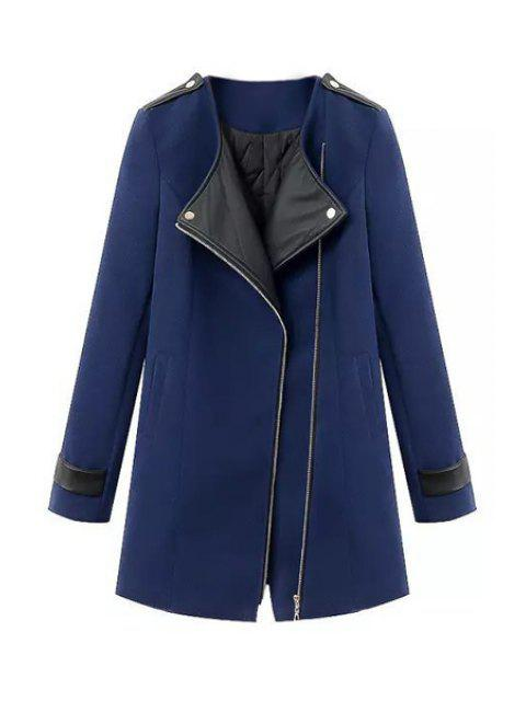 outfits Splicing Asymmetrical Coat For Women - SAPPHIRE BLUE M Mobile