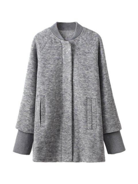 women Splicing Long Sleeve Coat For Women - GRAY M Mobile
