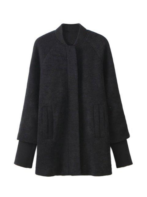 ladies Splicing Long Sleeve Coat For Women - BLACK S Mobile