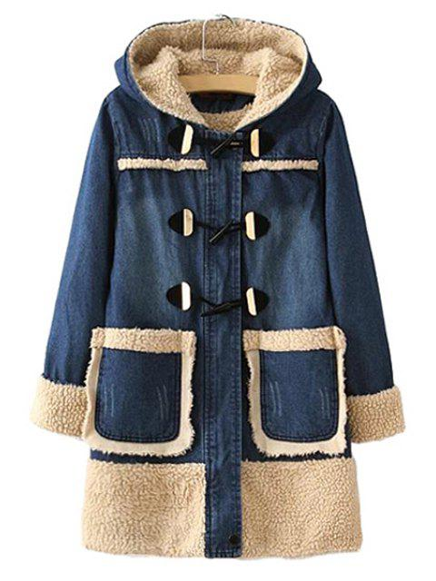 fancy Berber Fleece Long Sleeve Coat For Women - BLUE XL Mobile