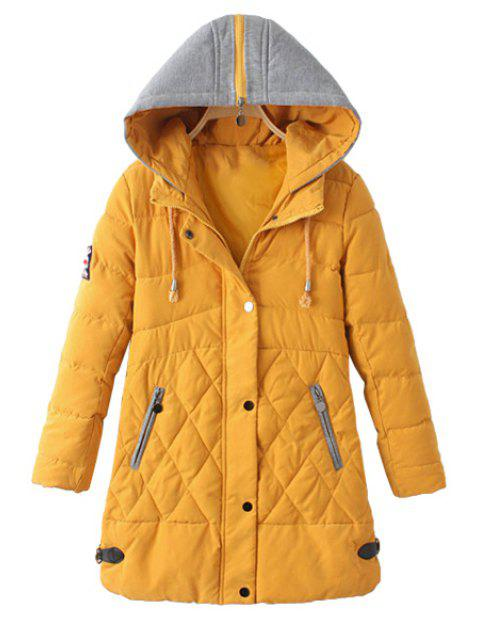 shop Zipper Draw Cord Long Sleeve Coat For Women - YELLOW L Mobile