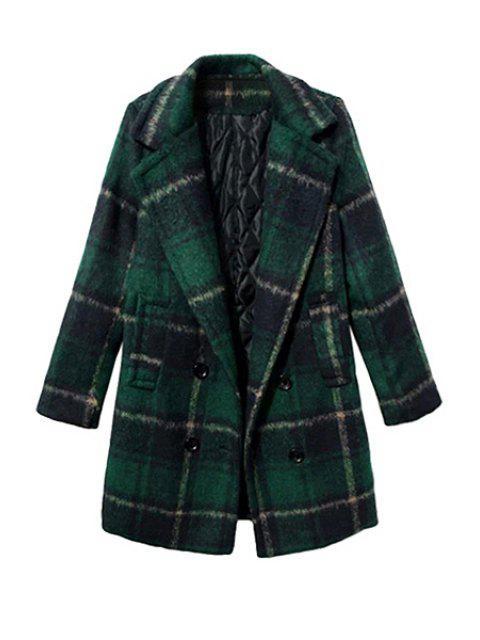 online Tartan Long Sleeve Coat - BLACKISH GREEN XL Mobile