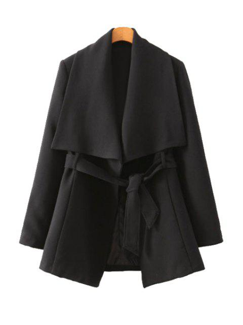 ladies Solid Color Long Sleeve Belt Coat - BLACK S Mobile