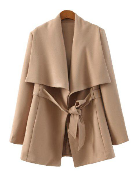 outfit Solid Color Long Sleeve Belt Coat - KHAKI S Mobile