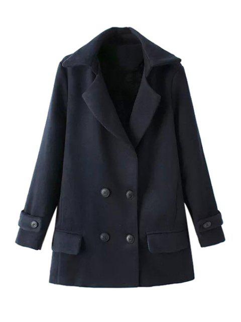 chic Solid Color Long Sleeve Lapel Coat - CADETBLUE L Mobile