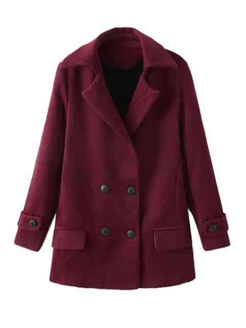 unique Solid Color Long Sleeve Lapel Coat - DARK RED L Mobile