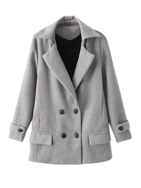 affordable Solid Color Long Sleeve Lapel Coat - GRAY L Mobile