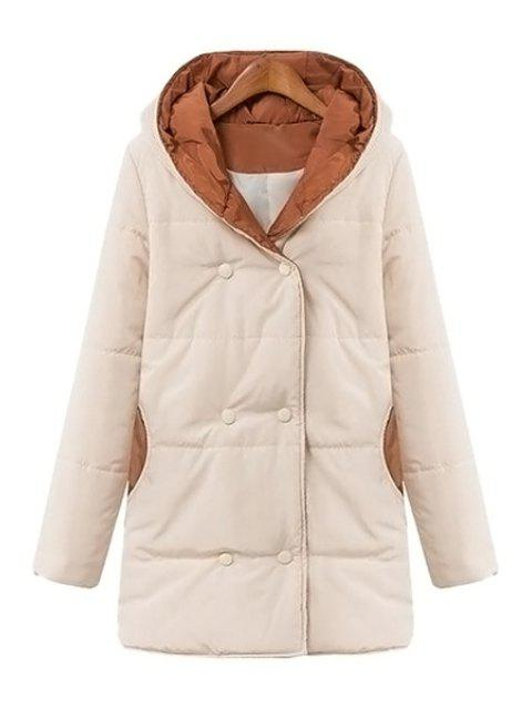 outfit Color Block Hooded Long Sleeve Coat - WHITE L Mobile