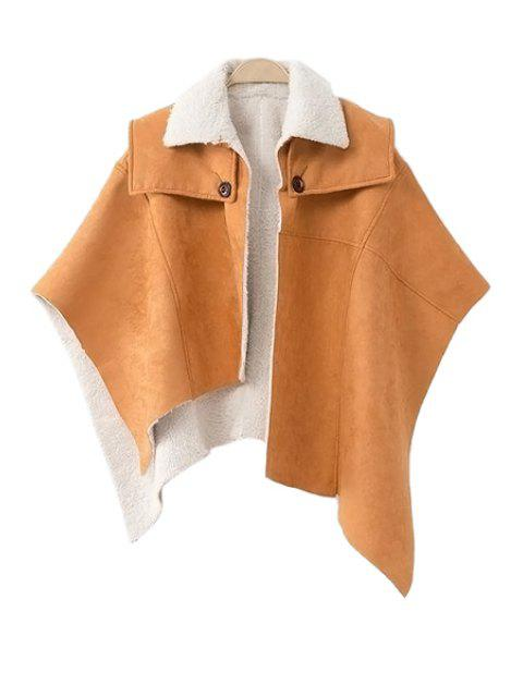 best Lamb Wool Irregular Cape-Style Coat - CAMEL M Mobile