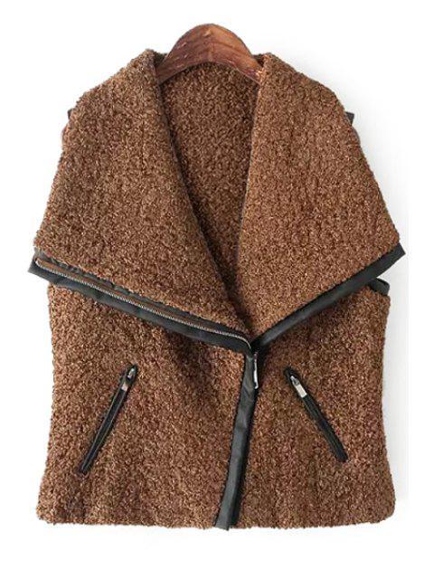 trendy Splicing Sleeveless Zipper Waistcoat - BROWN L Mobile