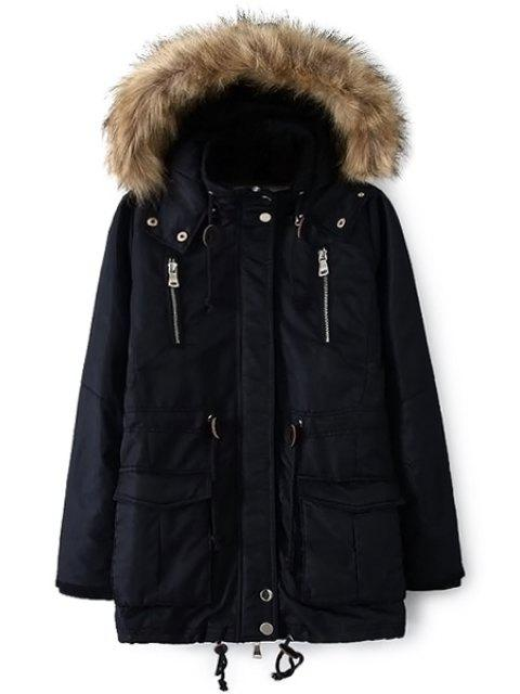 latest Solid Color Faux Fur Hooded Coat - CADETBLUE L Mobile
