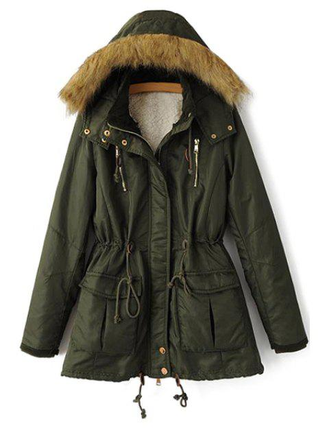 fashion Solid Color Faux Fur Hooded Coat - GREEN S Mobile