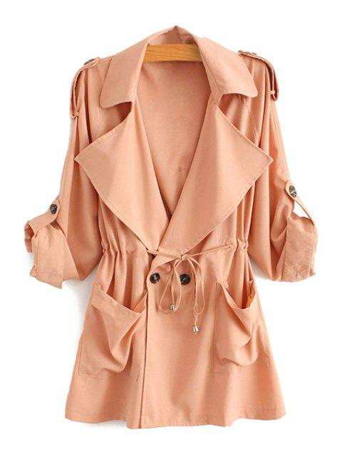 best Solid Color Lapel Long Sleeve Trench Coat - PINK M Mobile