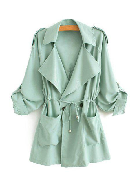womens Solid Color Lapel Long Sleeve Trench Coat - GREEN L Mobile