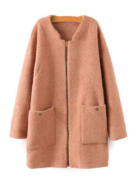 shop Solid Color Long Sleeve Coat - CAMEL L Mobile