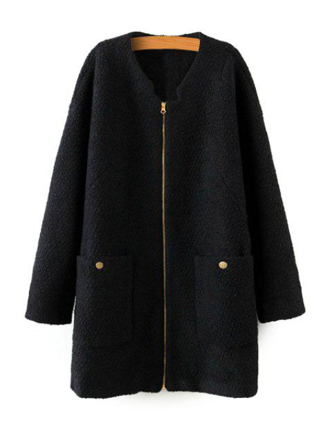 unique Solid Color Long Sleeve Coat - BLACK L Mobile