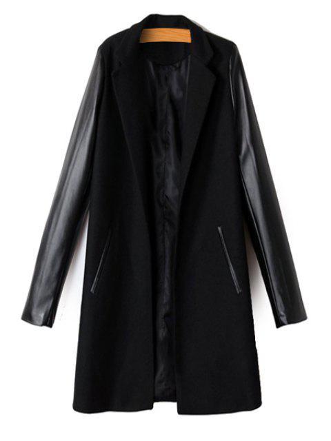 best PU Leather Spliced Long Sleeve Coat - BLACK M Mobile