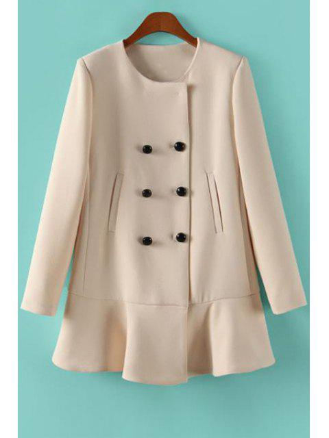 women's Solid Color Ruffles Long Sleeve Coat - OFF-WHITE M Mobile