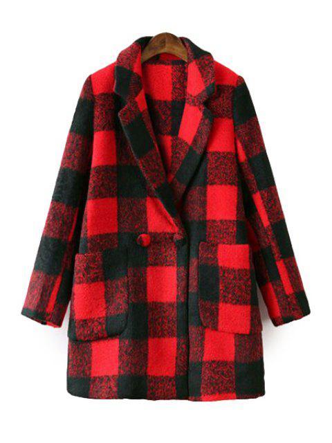 women Plaid Lapel Long Sleeve Coat - RED S Mobile