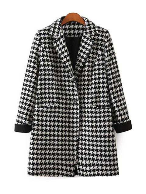 outfit Houndstooth Lapel Long Sleeve Coat - WHITE AND BLACK L Mobile