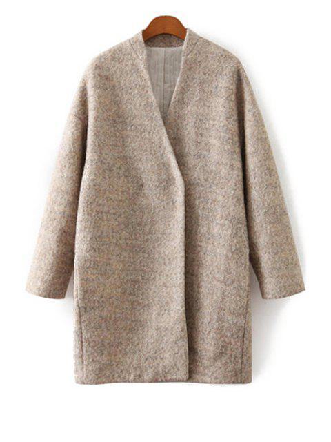 outfits Solid Color V-Neck Worsted Coat - KHAKI L Mobile