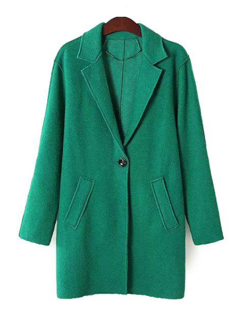 outfits Solid Color Lapel Neck Coat - GREEN L Mobile