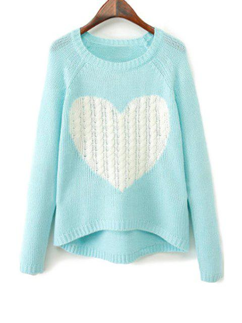 chic Heart Pattern Long Sleeve Sweater - LAKE BLUE M Mobile