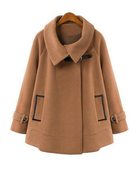 shop Cape-Style Long Sleeve Worsted Coat - CAMEL M Mobile