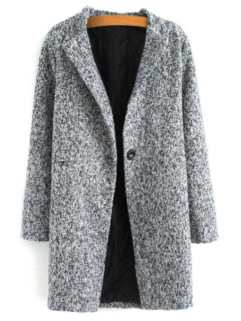 outfit Color Mixed Long Sleeve Worsted Coat - GRAY 3XL Mobile