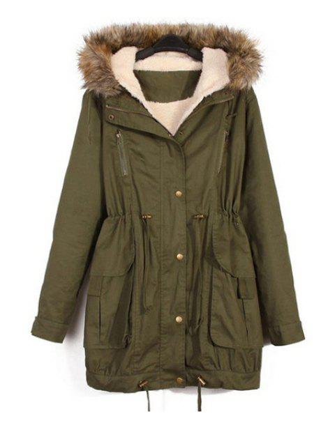 fancy Faux Fur Splicing Hooded Coat - ARMY GREEN L Mobile