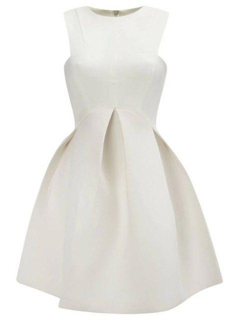 chic Solid Color A-Line Sundress - WHITE L Mobile